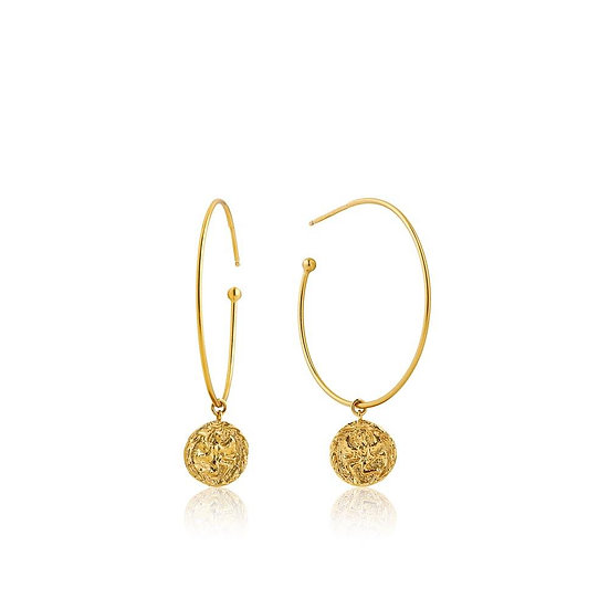 Gold Boreas Coin Hoop Earrings