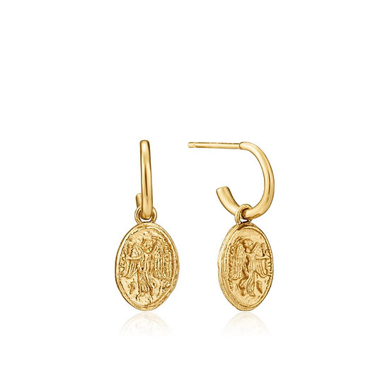 Gold Nika Coin Mini Hoop Earrings