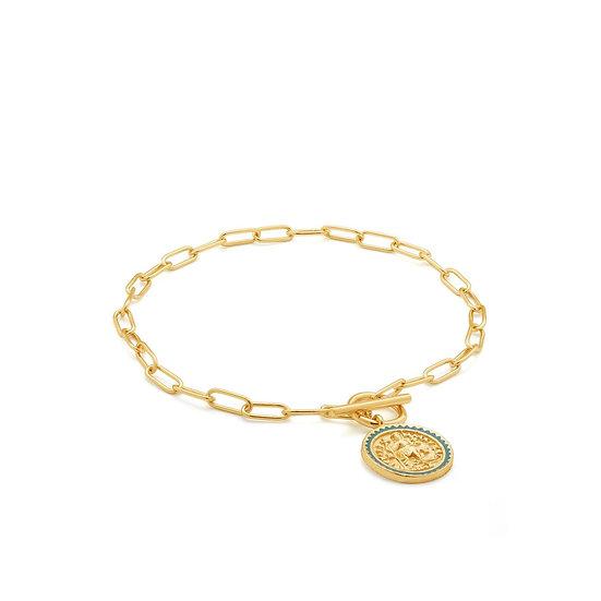 Gold Emperor Coin T-Bar Bracelet