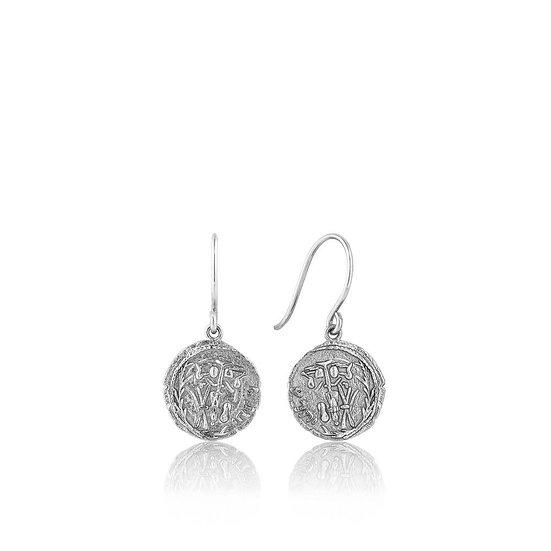 Silver Emblem Coin Hook Earrings