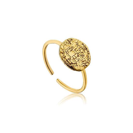 Gold Emblem Coin Adjustable Ring