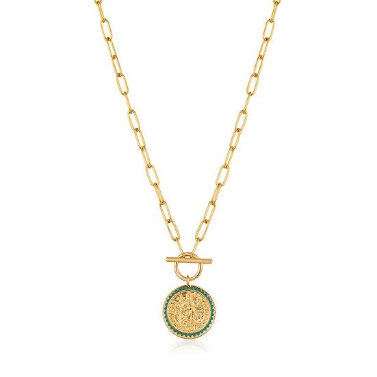 Gold Emperor Coin T-Bar Necklace