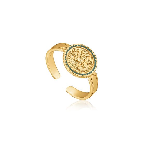 Gold Emperor Adjustable Coin Ring
