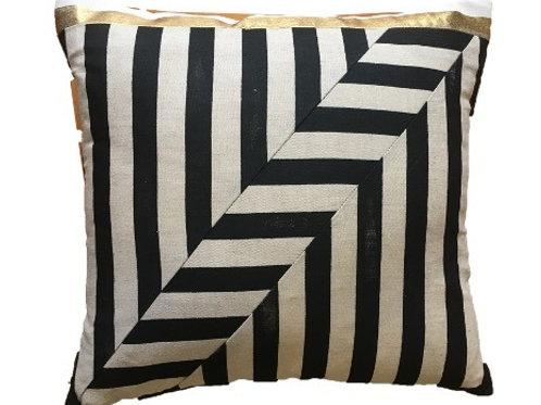 Diagonal Stripe Patchwork Cushion