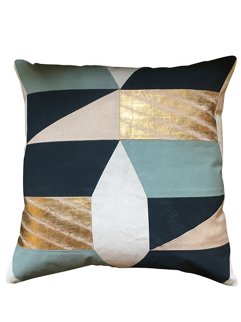 Teal and Gold Foiled Geometric Cushion