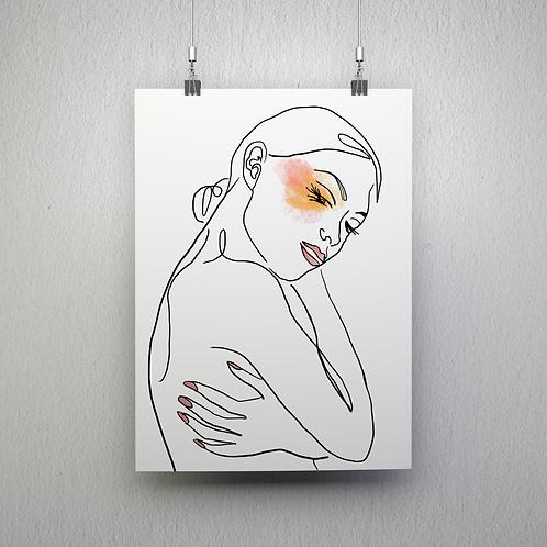 Line Art Poster - A Little Makeup