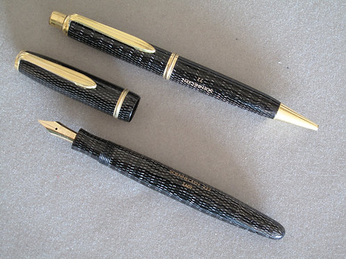 SOENNECKEN 222 LADY DARK GREY CELLULOID SET M 14k NIB