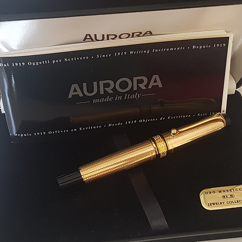 AURORA OPTIMA 990 JEWELRY COLLECTION 18K SOLID GOLD FOUNTAIN PEN