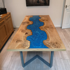 Framed oak River table on our standard style L shaped legs
