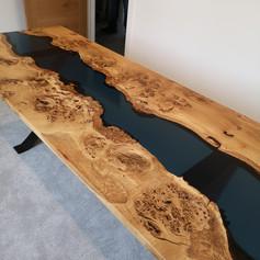 Burr oak River table with liquid colour tint