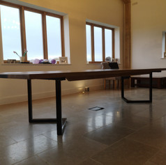 Oak River tables sat on our very popular L shaped legs