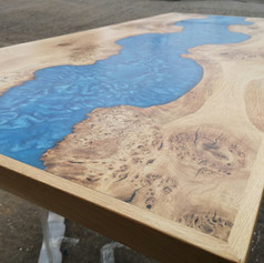 Framed oak River table with almost ice river