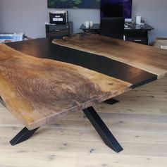 2mx2m English walnut table with spider leg base