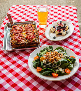 Detroit Style Pizza, Spinach Gorgonzola Salad and Blueberry Cheesecake