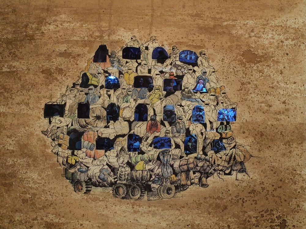 Lampedusa - Série DIAsPOra - Techniques mixtes 50x70 cm - Oeuvre de Mathieu Guerard