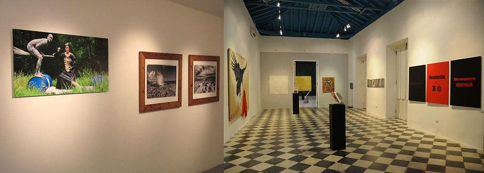 """Exposition des oeuvres de Tatiana Chaumont en 2010 à Basse Terre en Guadeloupe à la Galerie T&T, expo : """"Trajectoire"""" avec Renée Cox, à gauche et à Cuba en 2010 à droite pour l'exposition: """"Ya se leer"""""""