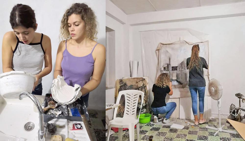 Pauline et Mathilde BONNET dans leur atelier à LA COURSIVE - LA STATION CULTURELLE au coeur de FORT DE FRANCE - Martinique - Photos : Gaëlle LE BARS