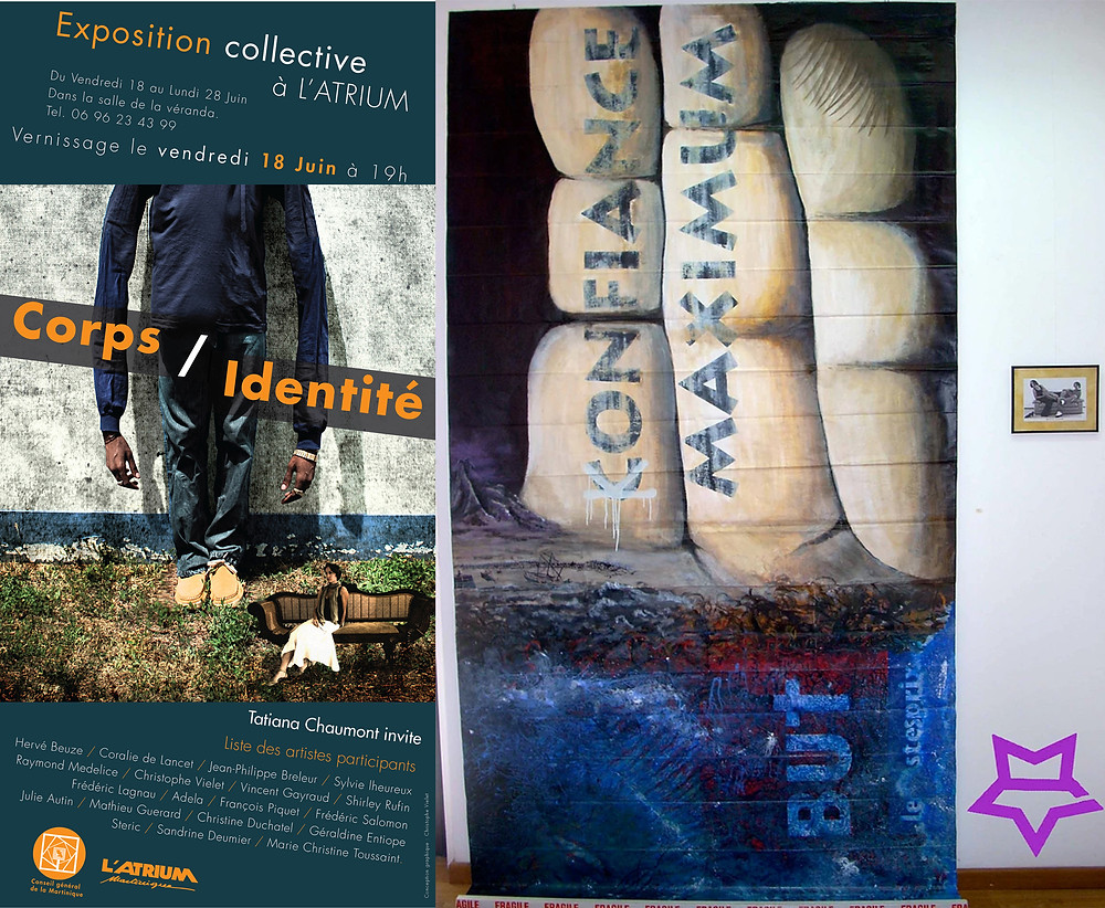 Exposition Collective CORPS & IDENTITÉ - 2010 à L'Atrium - à Fort de France - Martinique - Affiche Christophe Vielet - Oeuvre à droite de Mathieu Guerard - Exposition organisée par Tatiana Chaumont