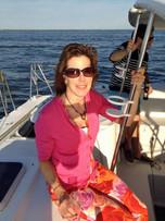 Valerie enjoying an evening sail