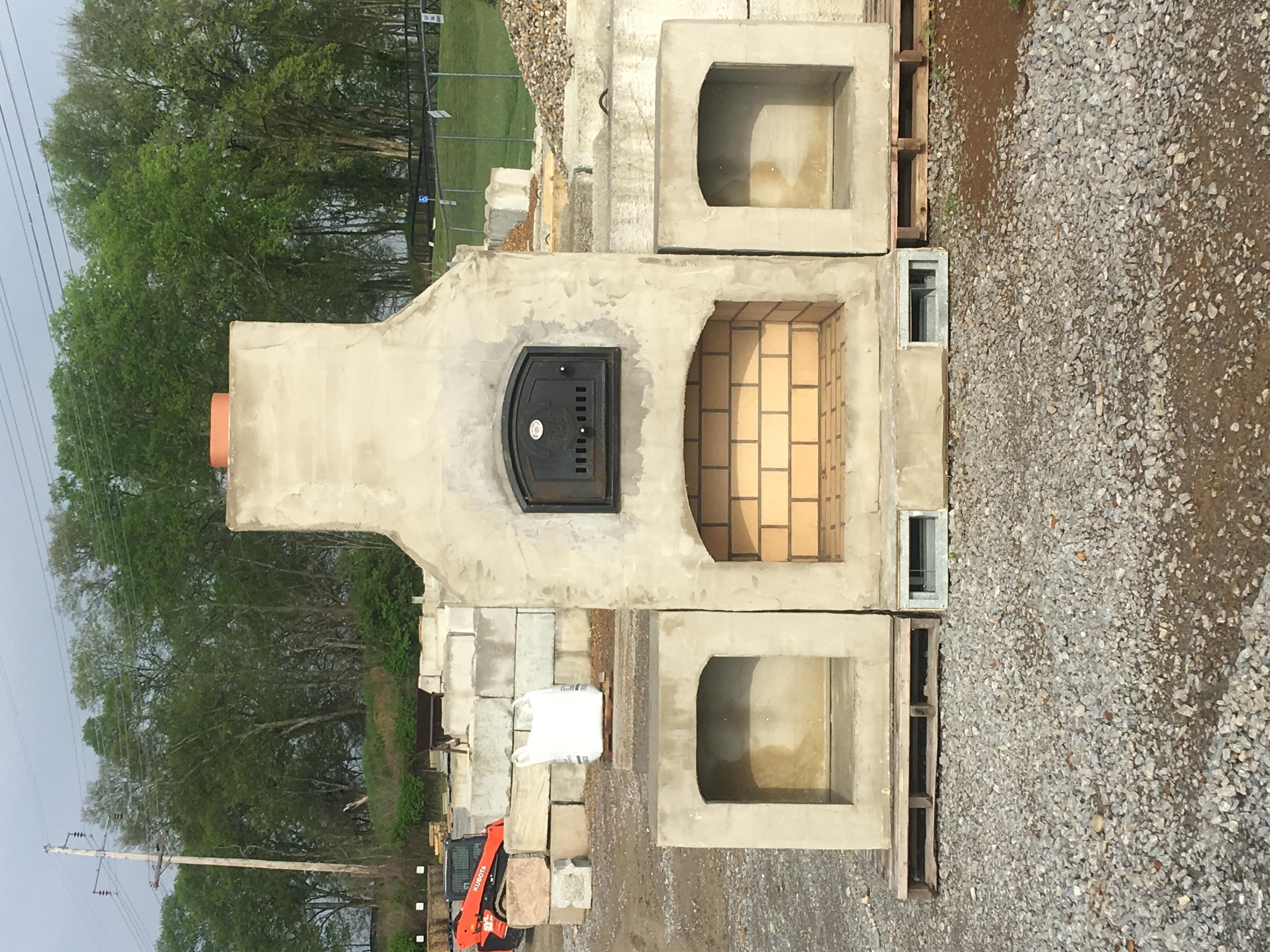 Prebuilt outdoor fireplace kit