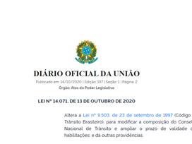 LEI Nº 14.071, DE 13 DE OUTUBRO DE 2020 (Altera disposições do Código de Trânsito Brasileiro)