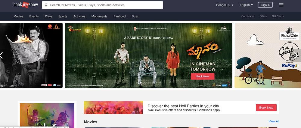 movie booking events booking india bangalore delhi goa