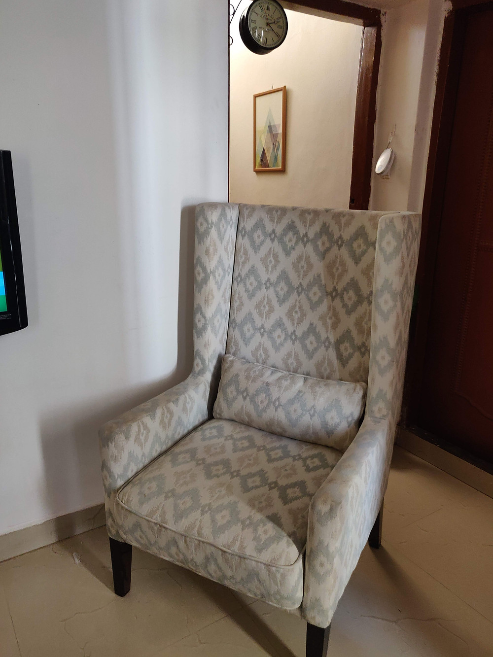 Ikat wing chair pepperfry