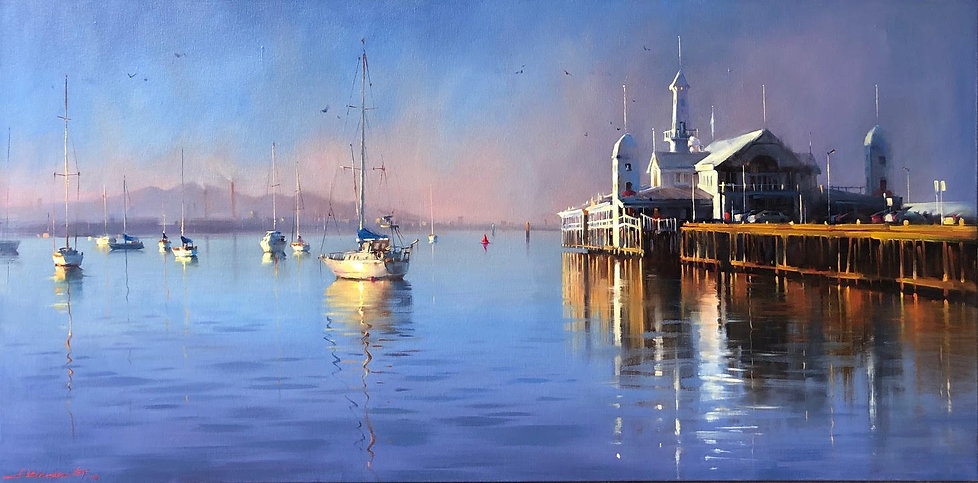 Last light, Geelong Waterfront (available)