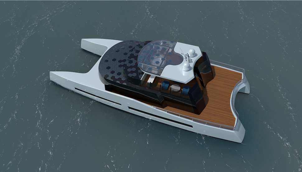35 metre motor catamaran concept by Isaac Burrough Design