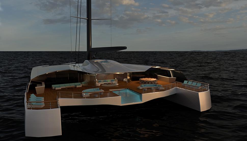 60 metre sailing catamaran concept by Isaac Burrough Design