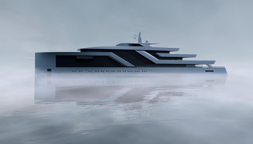 100 metre motor yacht concept by Isaac Burrough Design