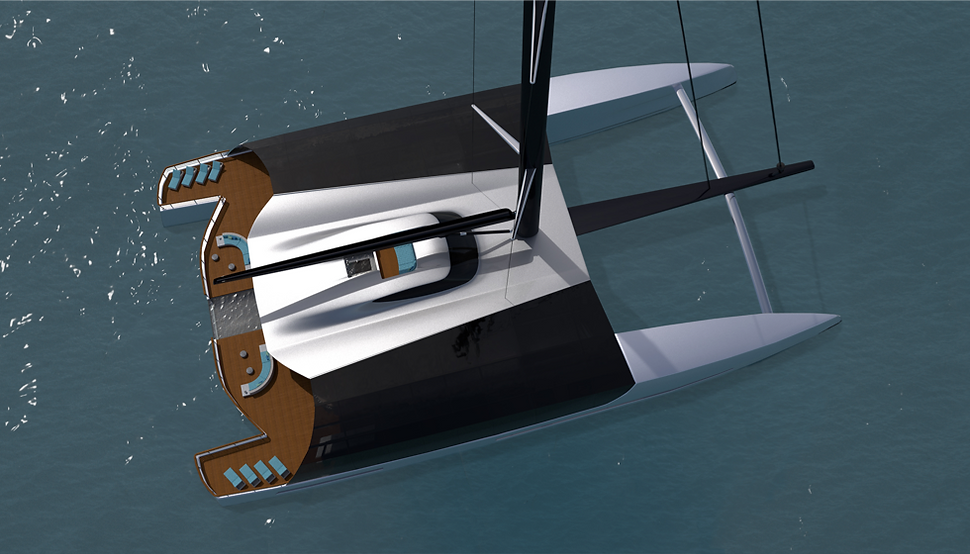60 metre sailing catamaran concept by Isaac Burrough Designg