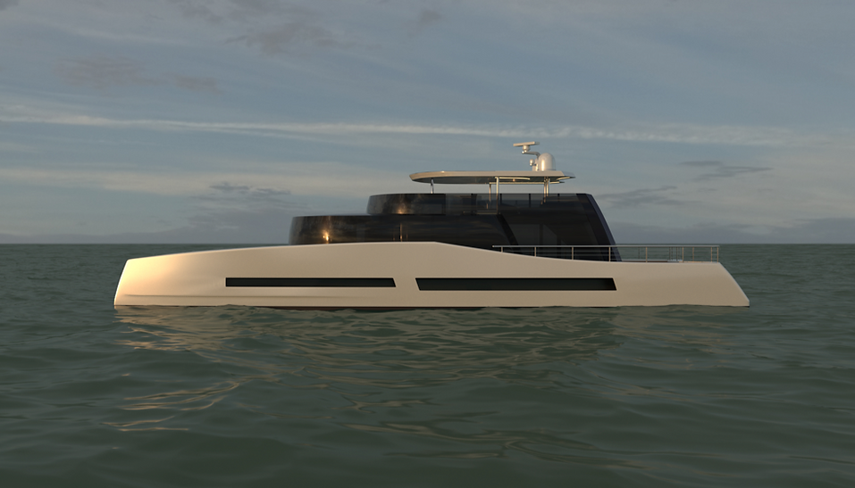 35 metre motor catamaran concept by Isaac Burrough Design