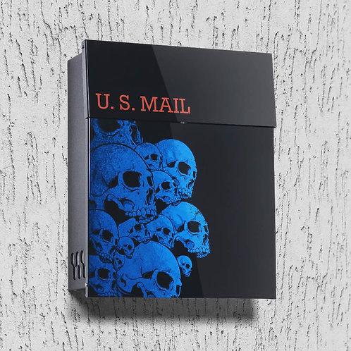Mailbox with Blue Skulls