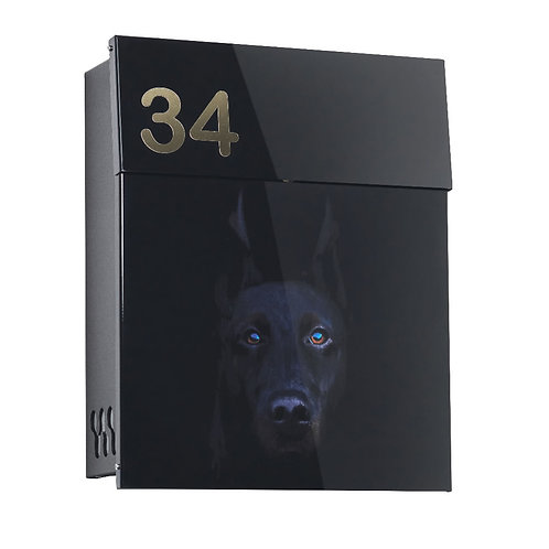 Black Modern mailbow with Dog