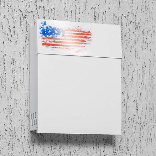 White mailbox with US patriotic pattern