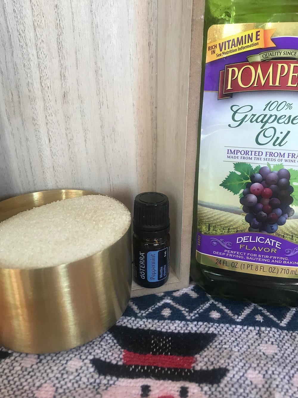 DIY sugar scrub using doTERRA peppermint Essential Oil