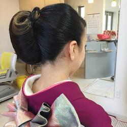 女性成人式着付け、和装ヘアセット(アップスタイル)