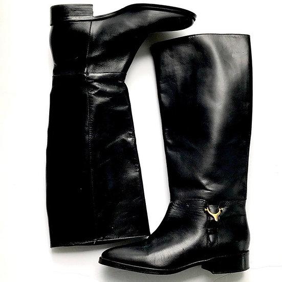 Etienne Aigner Derst Riding Boots Gold Horsebit