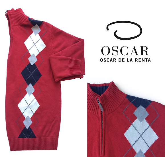 Oscar De La Renta 1/2 Zip Argyle Designer Pullover Sweater