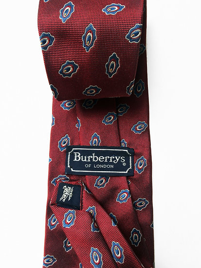 Burberrys of London Red Maroon Classic Geo Ovals 100% Silk Necktie