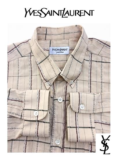 YVES SAINT LAURENT Paris Textured Stripe Stitch Button Down Dress Shirt