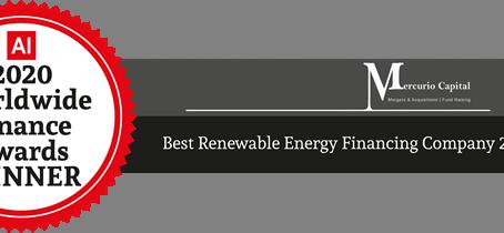 "Worldwide Finance Awards: Mercurio Capital wins ""Best Renewable Energy Finance 2020"""