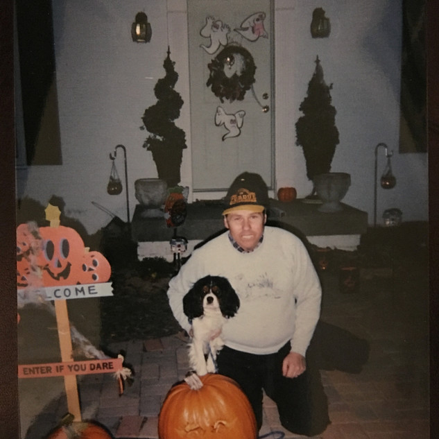Dr. Carter celebrating Halloween with his best bud, Casey. (2003)