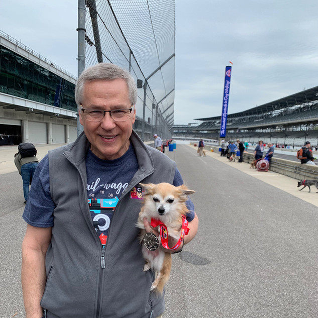 Dr. Carter and Lola at the Indy Mutt Strut. (2019)