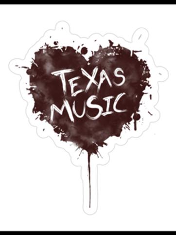 "Texas Music Decal 2.47""x3"""