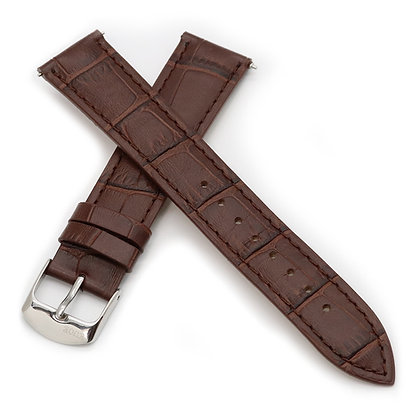 KUOE Spare Band Crocodile Embossed Brown Leather Cowhide