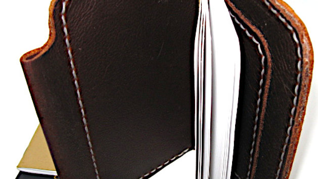 leather passport cover, field note cover with pen holder (KODIAK OIL-TANNED)