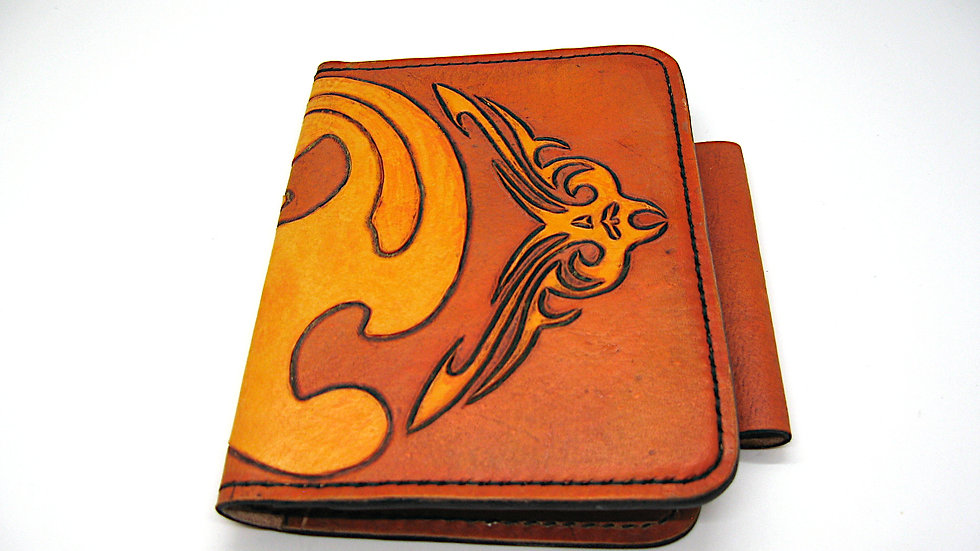 Carved Tooled leather passport cover, field note cover with pen holder