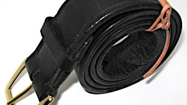 Black Belt full grain Double Shoulders Leather Stitched no rivets